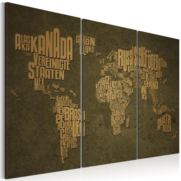 Obraz - Mapa świata, język niemiecki: beżowe kontynenty - tryptyk (60x40 cm) A0-N2137