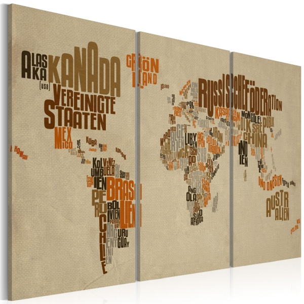 Obraz - Mapa świata (Język niemiecki) - tryptyk (60x40 cm) A0-N2136