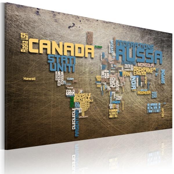 Obraz - Mapa świata (Język włoski) (60x40 cm) A0-N2196