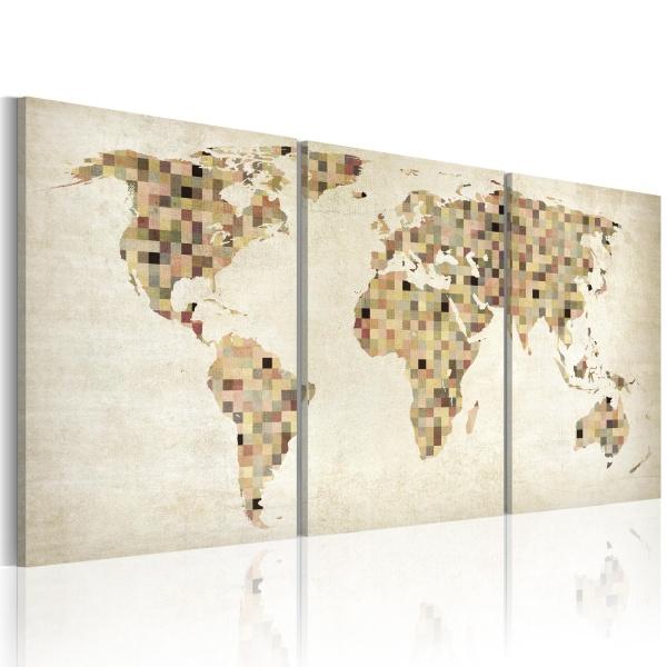 Obraz - Mapa świata - kwadraty (60x30 cm) A0-N2088