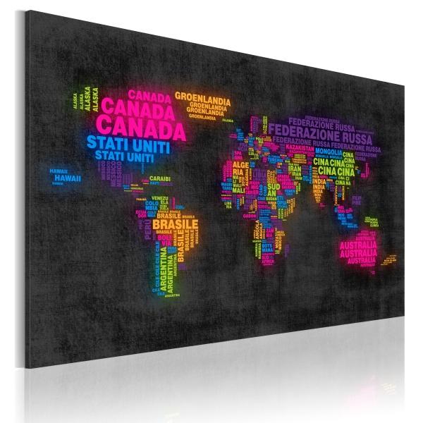 Obraz - Mapa świata - nazwy państw w języku włoskim (60x40 cm) A0-N2159
