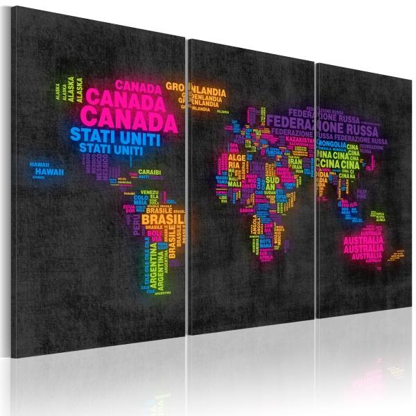 Obraz - Mapa świata - nazwy państw w języku włoskim - tryptyk (60x40 cm) A0-N2105