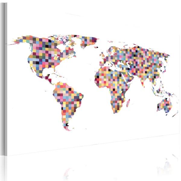 Obraz - Mapa świata - piksele (60x40 cm) A0-N2167