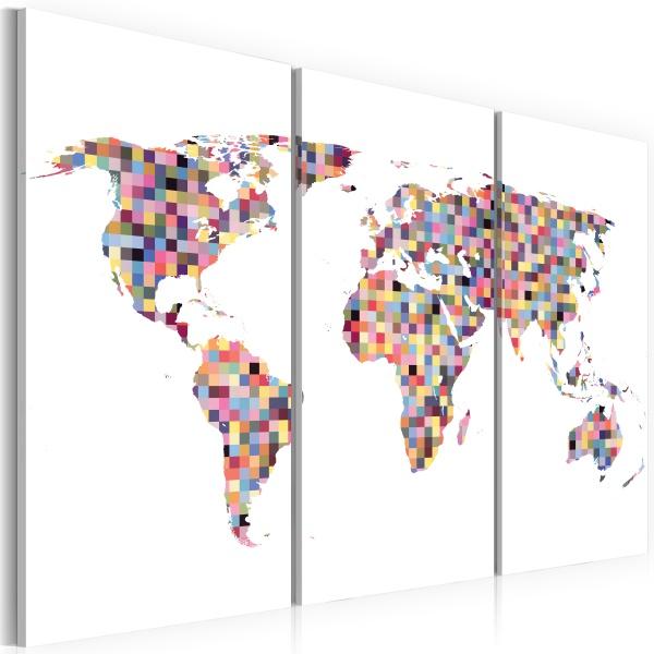 Obraz - Mapa świata - piksele - tryptyk (60x40 cm) A0-N2115