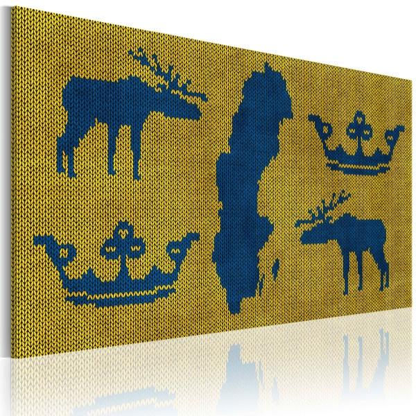Obraz - Mapa świata: sweter z motywem Szwecji (60x40 cm) A0-N2191
