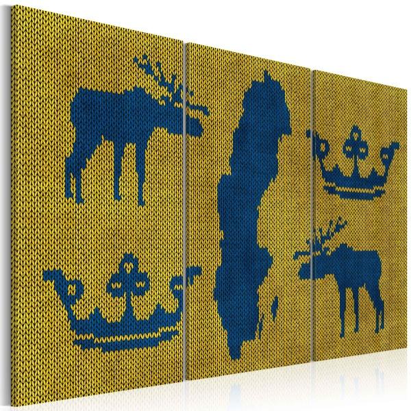Obraz - Mapa świata: sweter z motywem Szwecji - tryptyk (60x40 cm) A0-N2142