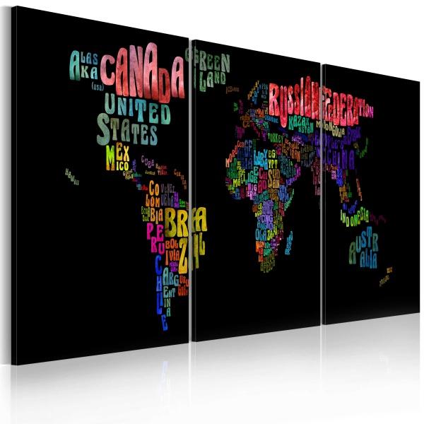 Obraz - Mapa świata - tekst (60x30 cm) A0-N2011