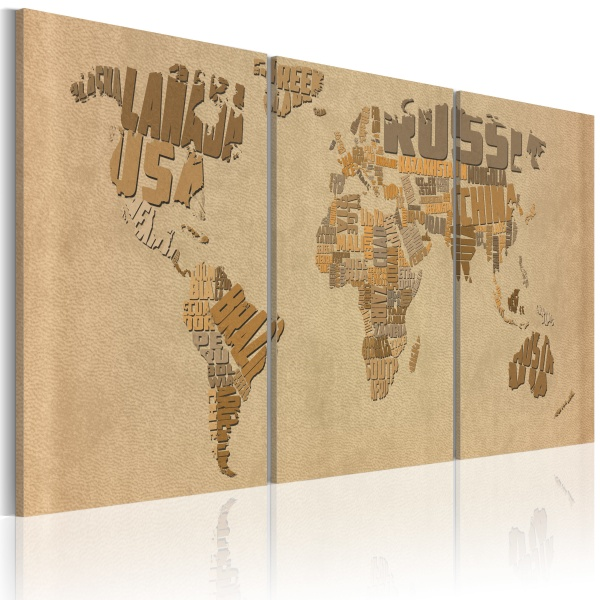Obraz - Mapa świata w beżach i brązach (60x30 cm) A0-N2014