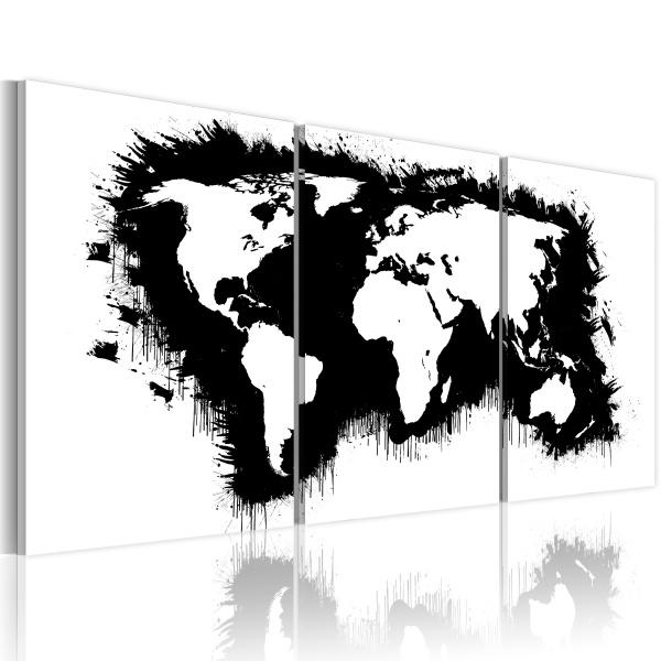 Obraz - Mapa świata w czerni i bieli (60x30 cm) A0-N2089