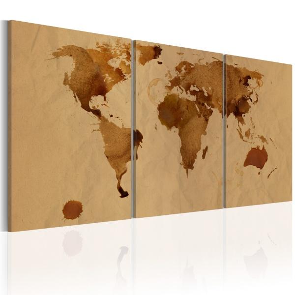Obraz - Mapa świata w kolorze kawy (60x30 cm) A0-N2012