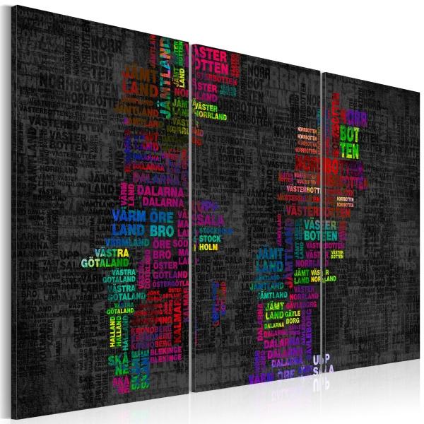 Obraz - Mapa Szwecji (nazwy miast w kolorach) - tryptyk (60x40 cm) A0-N2139