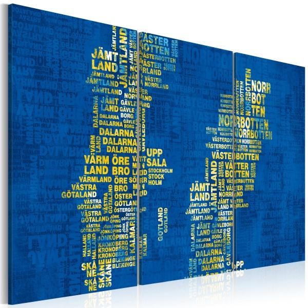 Obraz - Mapa Szwecji (niebieskie tło) - tryptyk (60x40 cm) A0-N2141