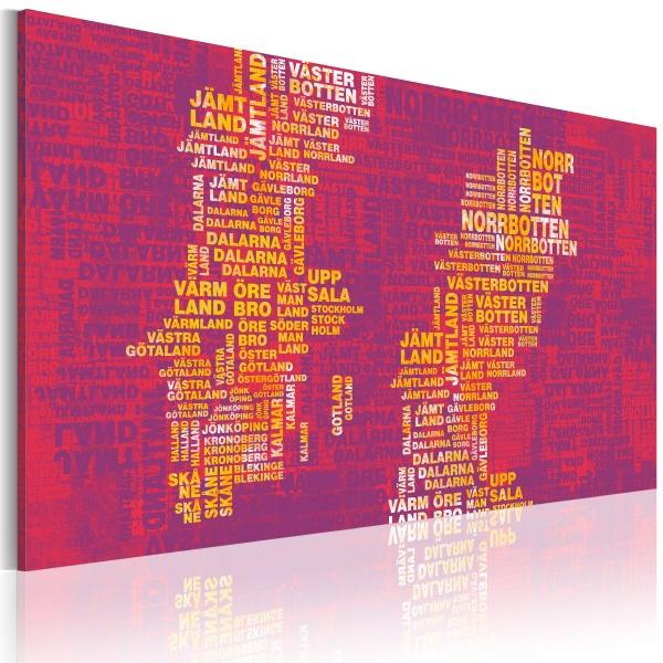 Obraz - Mapa Szwecji (różowe tło) (60x40 cm) A0-N2193