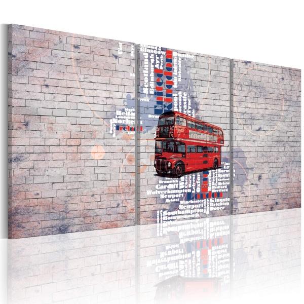 Obraz - mapa: Wielka Brytania (60x30 cm) A0-N2094