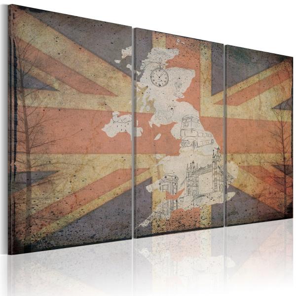 Obraz - Mapa Wielkiej Brytanii - tryptyk (60x40 cm) A0-N2101