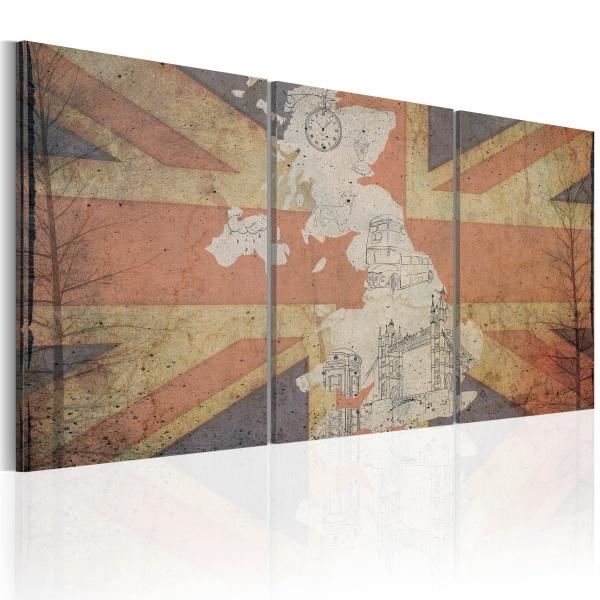 Obraz - Mapa Wielkiej Brytanii (Vintage) (60x30 cm) A0-N2082