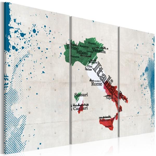 Obraz - Mapa Włoch - tryptyk (60x40 cm) A0-N2112