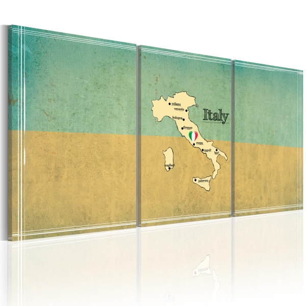Obraz - mapa: Włochy (60x30 cm) A0-N2092