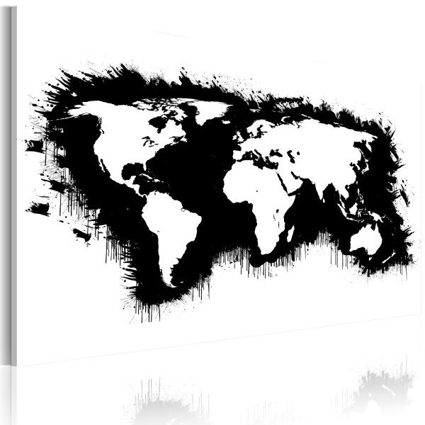 Obraz - Monochromatyczna mapa świata (60x40 cm) A0-N2165