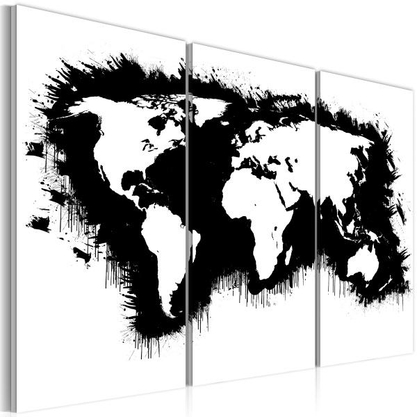 Obraz - Monochromatyczna mapa świata - tryptyk (60x40 cm) A0-N2113