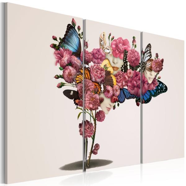 Obraz - Motyle, kwiaty i karnawał (60x40 cm) A0-N1841