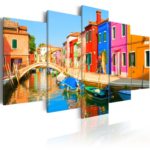Obraz - Nadbrzeże w kolorach tęczy (100x50 cm) A0-N3070