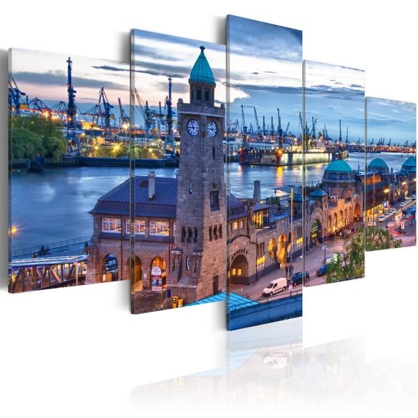 Obraz - Niemcy, Hamburg, port (100x50 cm) A0-N2467
