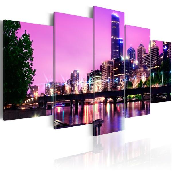 Obraz - Night urban city skyline - Melbourne (100x50 cm) A0-N2574
