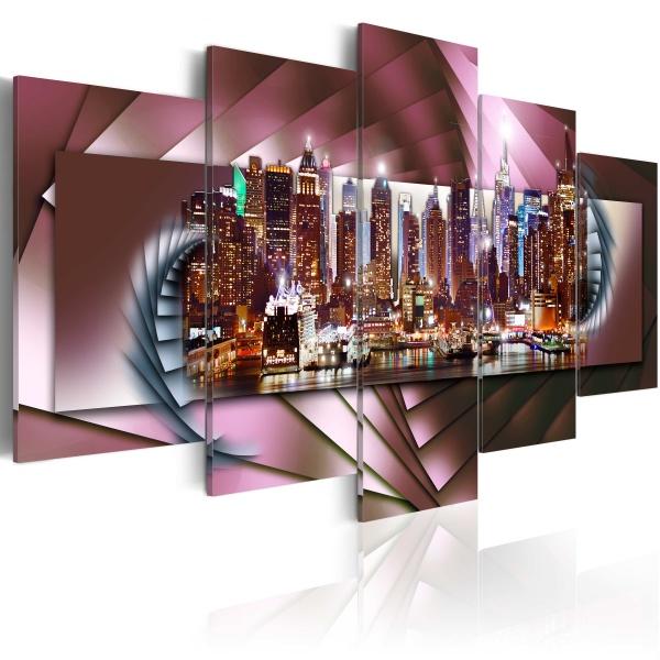 Obraz - Nowy Jork i fraktal (100x50 cm) A0-N2634