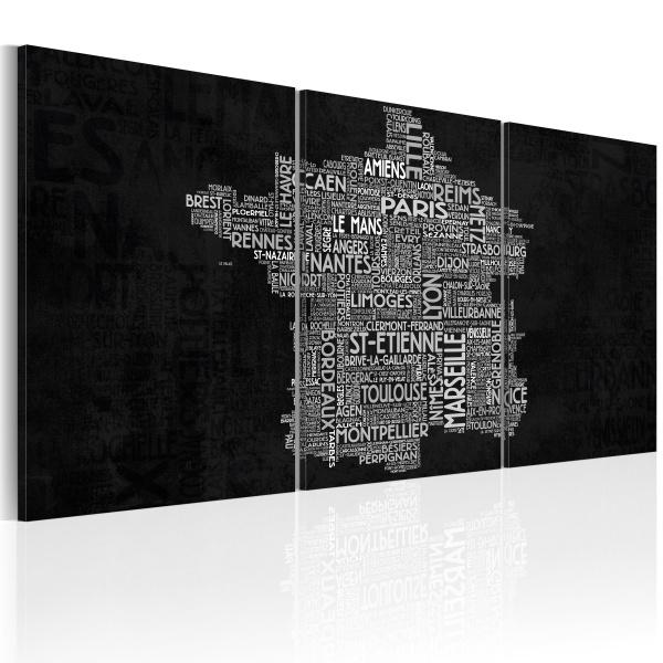Obraz - Od Montpelier do St-Etienne (czarno-biały) (60x30 cm) A0-N2069