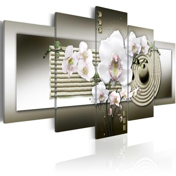 Obraz - Orchidea i ogród zen w szarościach (100x50 cm) A0-N2998