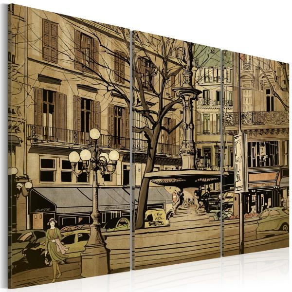 Obraz - Paryska fontanna w sepii (60x40 cm) A0-N1844