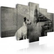 Obraz - Piesek wsłuchujący się w muzykę z gramofonu (100x50 cm)