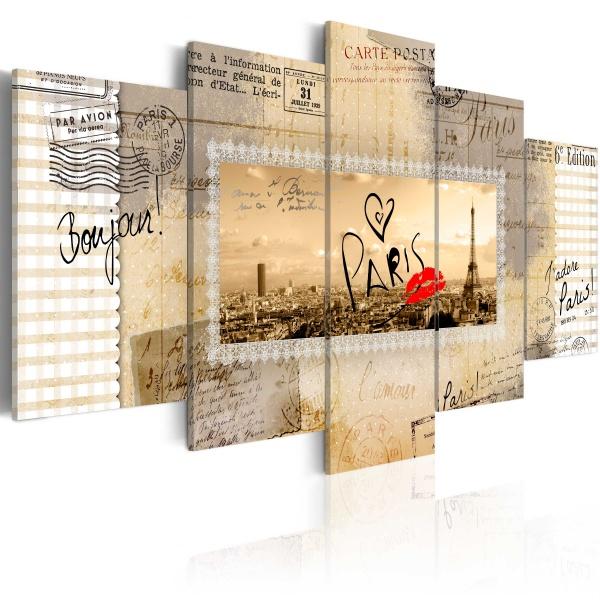 Obraz - Pocztówka z Paryża (100x50 cm) A0-N3353