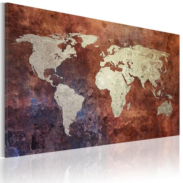 Obraz - Rdzawa mapa świata (60x40 cm) A0-N2031