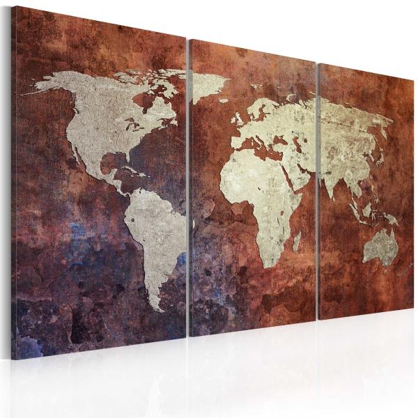 Obraz - Rdzawa mapa świata - tryptyk (60x40 cm) A0-N2050