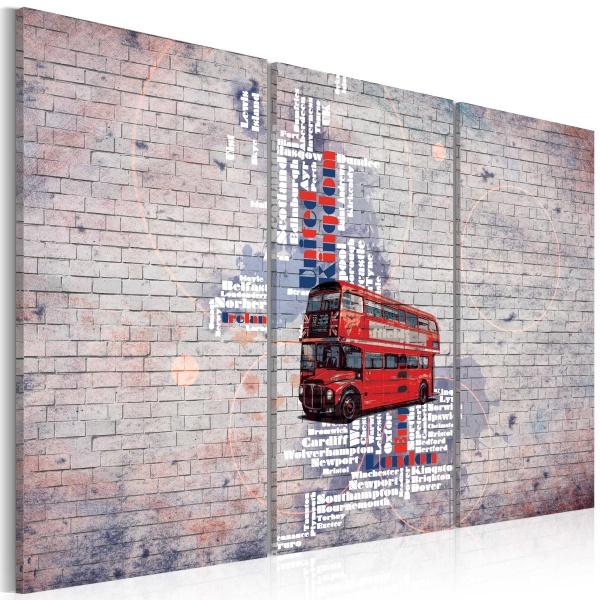 Obraz - Routemasterem dookoła Wielkiej Brytanii - tryptyk (60x40 cm) A0-N2123