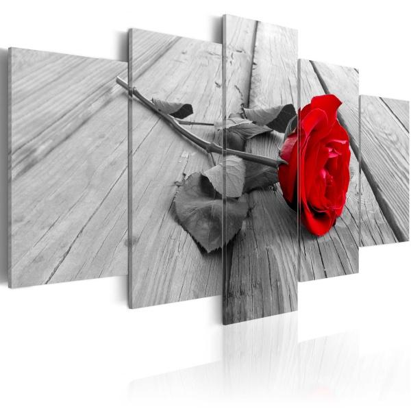 Obraz - Róża na drewnie (100x50 cm) A0-N3363