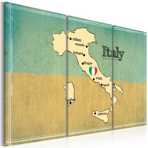 Obraz - Serce Włoch - tryptyk (60x40 cm) A0-N2118