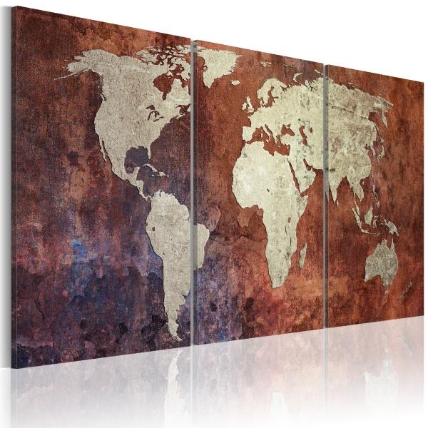 Obraz - Stalowe kontynenty (60x30 cm) A0-N2013