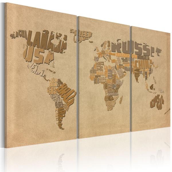 Obraz - Stara mapa świata - tryptyk (60x40 cm) A0-N2051
