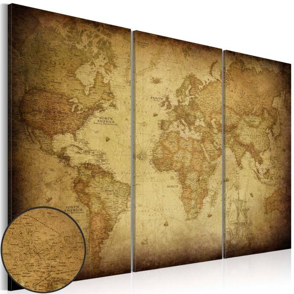 Obraz - Stara mapa: tryptyk (60x40 cm) A0-N3285