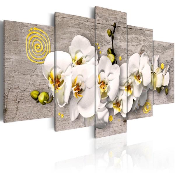 Obraz - Sunny orchids - 5 pieces (100x50 cm) A0-N2280