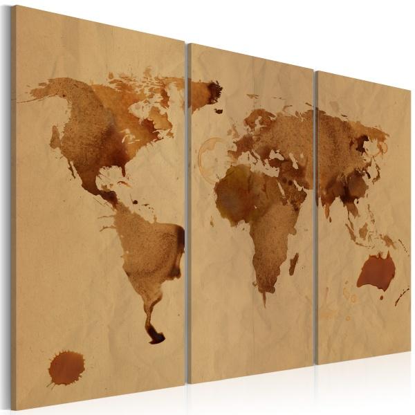 Obraz - Świat kawą malowany - tryptyk (60x40 cm) A0-N2049