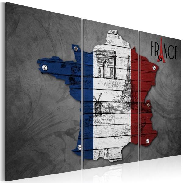 Obraz - Symbole Francji - tryptyk (60x40 cm) A0-N2138