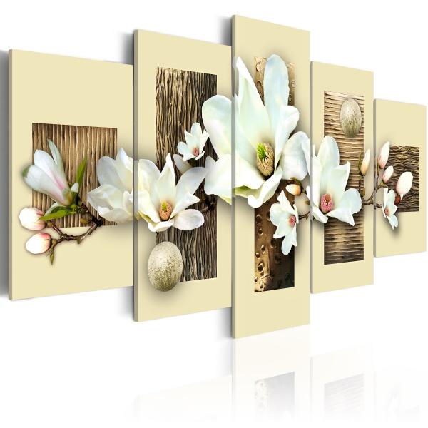Obraz - Tekstura i magnolia (100x50 cm) A0-N2150