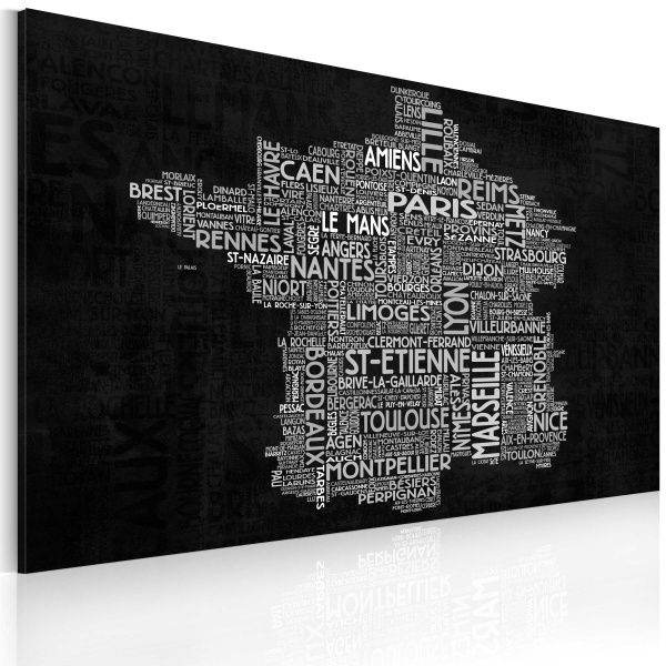 Obraz - Text map of France on the black background (60x40 cm) A0-N2187