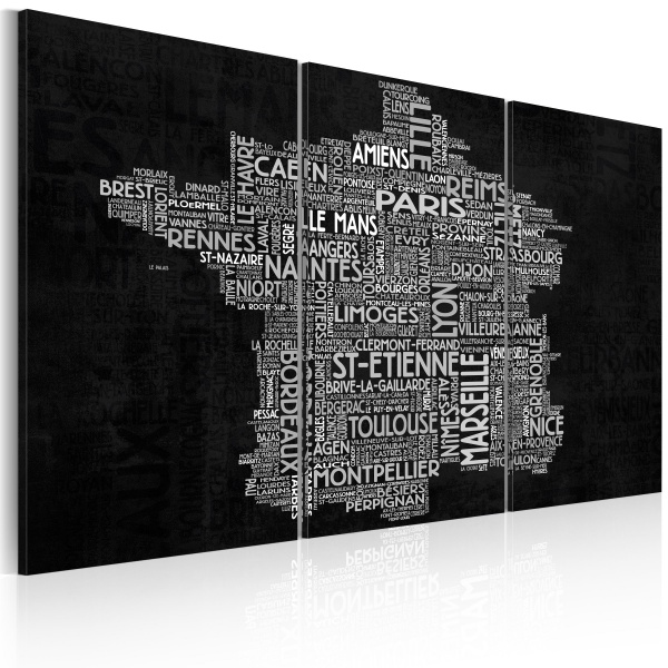 Obraz - Text map of France on the black background - triptych (60x40 cm) A0-N2135