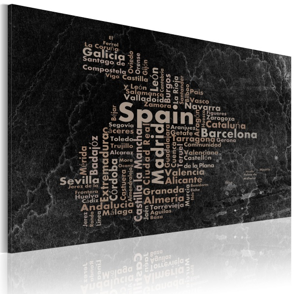 Obraz - Text map of Spain on the blackboard (60x40 cm) A0-N2184