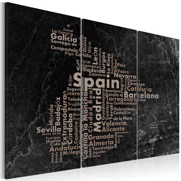 Obraz - Text map of Spain on the blackboard - triptych (60x40 cm) A0-N2131